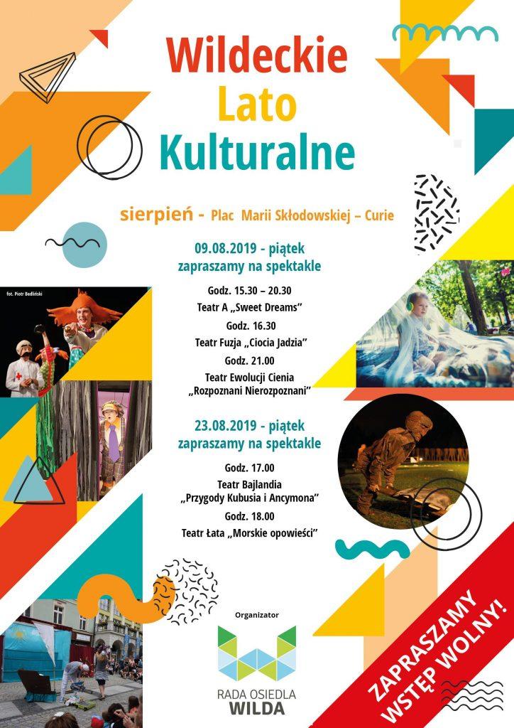 Plakat prezentujący sierpniowy program Wildeckiego Lata Kulturalnego. Zawarte nanim informacje zostały podane wyżej wtekście.